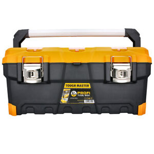 """Tough Master Professional Tool Box 26"""" with Tray and Compartment Organiser, Alum"""