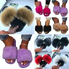 Women Fluffy Fur Slingback Sliders Slipper Platform Flat Sandal Mules Shoes Size