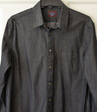 Untuckit Mens L Shirt Dark Gray Button Front 100% Cotton
