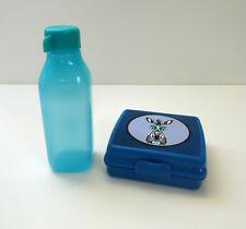 TUPPERWARE EcoEasy Quader Trinkflasche 500ml + Lunchbox Zebra, BLAU