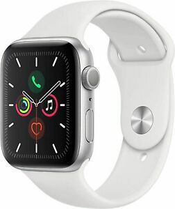Apple Watch Series 5 (GPS, 44mm) - Silver Aluminum Case w/ White Band MWVD2LL/A