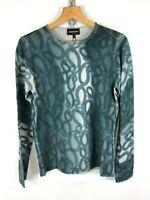 Emporio Armani ®  Blue 'Petrol' Print Virgin Wool Jumper - Size EU 46 - New
