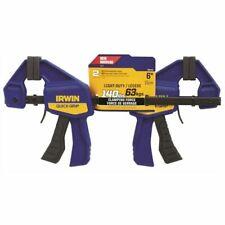 "IRWIN Quick Grip Set 2 Mini One Handed Bar Clamp 63kgs 6"" 15cm"