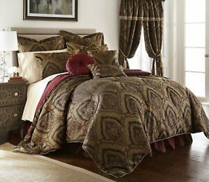 Full Queen Cal King Bed Gold Black Burgundy Medallion Paisley 9 pc Comforter Set