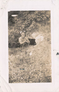 WWII 1940s US Navy sailor's Guam photo me  at Japanese cave entrance