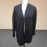 ANN TAYLOR Women's Sweater Size L Dark Blue Open Front Linen Blend Cardigan