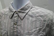 Tommy Hilfiger Denim Western Pearl Snap Shirt Size Medium (M) Gray Pink Stripes