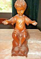 """Vintage Wood Hand Carved Wooden ANGEL CHERUB Folk Art 10"""" Gorgeous!"""