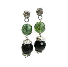 Neu OHRSTECKER mit SCHLIFFPERLEN grün STRASSSTEINE schwarz-grau PERLEN Ohrringe