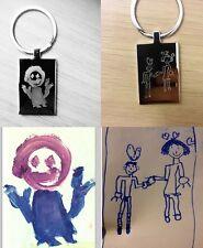 Personalised Engraved  Kids Drawing High Quality Rectangle Keyring - Keepsakes