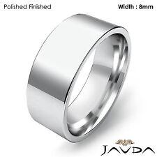 Wedding Band 8mm Women Comfort fit Flat Pipe Cut Ring Platinum 14.1gm Sz 6-6.75