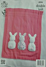KNITTING PATTERN Baby Cot Blanket three Bunny Rabbit tails Cuddles DK KC 4006