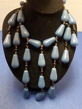 90s Runway FOSSIL Rare Blue Glass Festoon Necklace Huge Statement