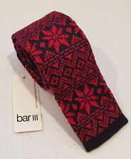 "Bar III Men's Anderson Knit Slim Red Tie. 53.5"" L × 2"" W. Geometric.100% cotton"