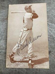 Hank Aaron Authentic Signed 1947-1966 Exhibits STATS Card JSA COA RARE NM/MT