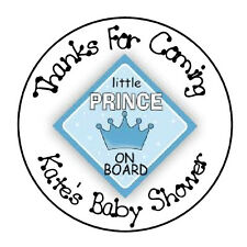 """24 PERSONALIZED BOY BABY SHOWER PRINCE FAVOR LABELS ROUND STICKERS 1.67"""" *"""