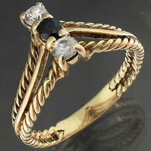 London 1981 Solid 9k Yellow GOLD Sapphire & 2 Cubic Zirconia ROPE VEE RING Sz O