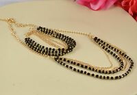 GOLD TONE TIERED CHAIN & BLACK OR TURQUOISE GLASS BEAD NECKLACE & BRACELET SET