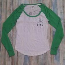 PINK Lucky Cardinals Knit Top White Green Baseball St. Louis Cardinals Womens XS