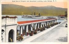 Lake George New York 1920s Postcard East End Of pergola and Steamboat Landing