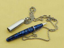 Fuliwen Blue Marble Celluloid Chain Rollerball Pen