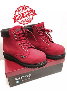 Ankle High Lace Up Safety Boots LEATHER WORK STEEL CAP ANTI SLIP LADIES MENS