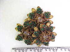 MIRIAM HASKELL RARE LARGE VINTAGE BROOCH / PIN FLORAL DESIGN WITH RHINESTONES