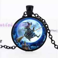Witch Flying Photo Cabochon Glass Black Chain Pendant Necklace