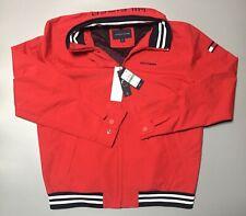 Tommy Hilfiger Men's Hooded Red Regatta Sailing Jacket Lightweight Flag Logo L