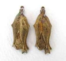 Vintage Brass Fish Charm Animal Pendant Aged Patina Metal Finding 32mm