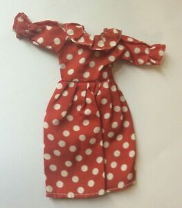 Attractive Red & White Polka Dot Dress for a fashion doll vintage dolls clothes
