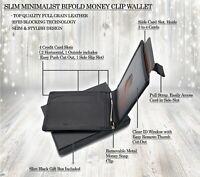 AG Wallets Mens Leather RFID Bifold Minimalist Money Clip Wallet, SLIM Design