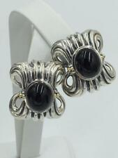 NWT $950 LAGOS Caviar Wheat Sterling Silver 18k Gold Onyx Earrings