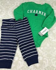 NWT Baby Boy 6 Mo St. Paddy's Day Charmer 4 Leaf Clover Outfit Set Carters