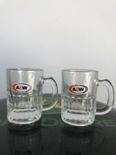 "2 A&W Root Beer All American Food Small Mini Glass Mug lot  3.25"" Glass rootbeer"