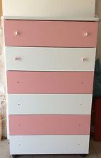 Settimino bianco mobile cassett melaminico montato colore rosa e bianco cm 75
