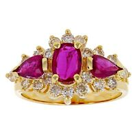 14k Yellow Gold 0.50ctw Ruby & Diamond Cocktail Ring Size 6.5