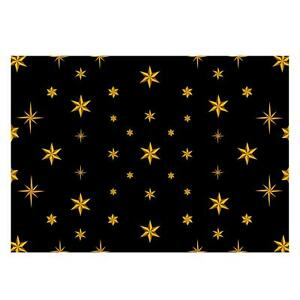 Unique High Quality Christmas Gold Stars-Black Background-Size A3 -GP130
