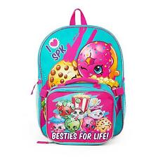 Shopkins Girls Backpack with Detachable Lunch, Pink Blue Kindergarten School Bag