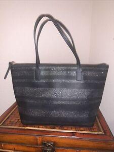 KATE SPADE Hani Haven Lane Black Glitter Stripes Career Tote  Bag