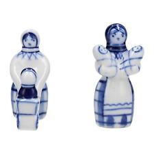 2 x Lomonosov blue & white figures Mother & children