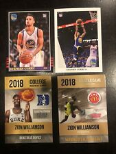 Zion Williamson & Steph Curry 4 Card Lot