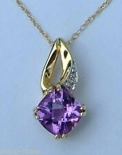 Ladies Checkerboard Radiant Amethyst Gemstone Pendant  - 10k Yellow Gold