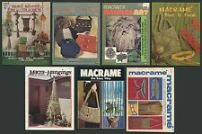 7 Macramé Books Craft Publications Art Purse Belt Necklace Plant Hanger 1970s