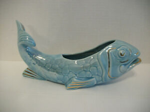 VINTAGE MCCOY POTTERY BLUE FISH PLANTER WITH GOLD ACCENTS, #285
