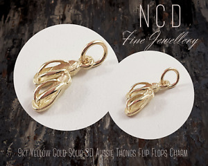 NC Designs NEW Genuine 9kt Yellow Gold Solid 3D Aussie Thongs Flip Flops Charm