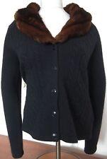 Ralph Lauren Black Wool Cashmere Blend Faux Mink Collar Sweater Size PM