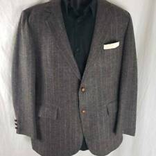Signature Series Mens Two Button Suit Coat Gray 100% Wool Pinstripe Lined 44R