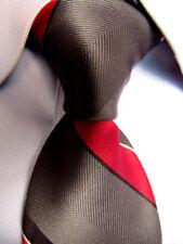 Men's VINTAGE Oscar de la Renta Gray Red Striped Silk Tie A27404