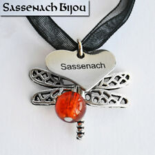 Sassenach + Dragonfly Charm + Amber Bead Pendant Necklace - Outlander inspired